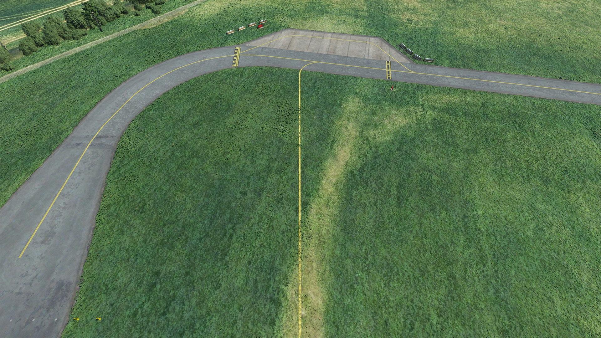 Die Markierung des Gras-Taxiways.