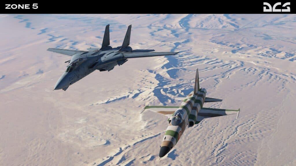 """An der Seite unseres Ausbilders """"Gator"""" fliegen wir in die Trainings-Range - Quelle: Facebook / Reflected Simulations"""