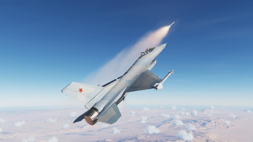 """Die F-16 Fight Falcon greift uns im Nahkampf mit einer wärme suchenden """"Siderwinder"""" an"""
