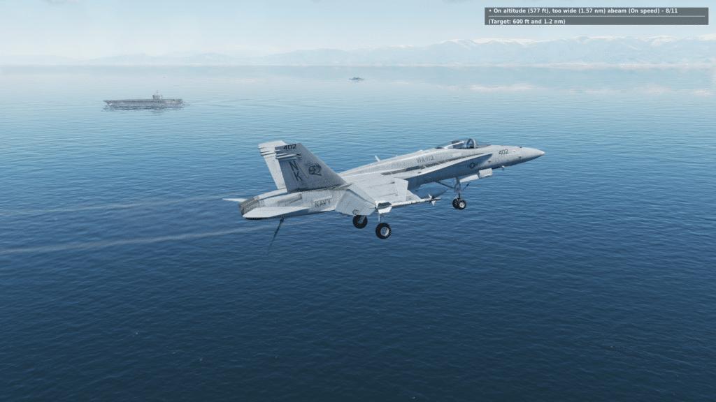 """Im """"Downwind-Leg"""" sind wir zu weit vom Carrier. Die Höhe passt."""